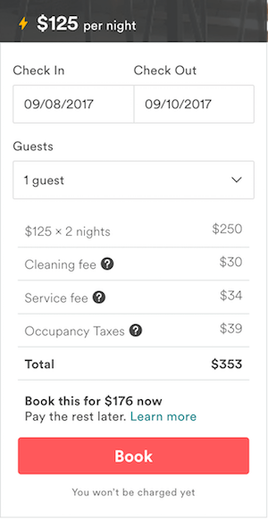 commissione di cambio valuta di Airbnb - esempio 1