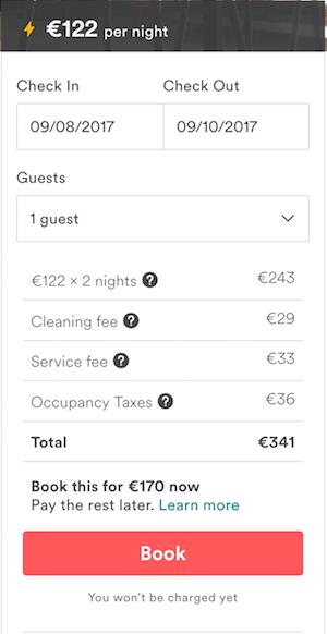 commissione di cambio valuta di Airbnb - esempio 2