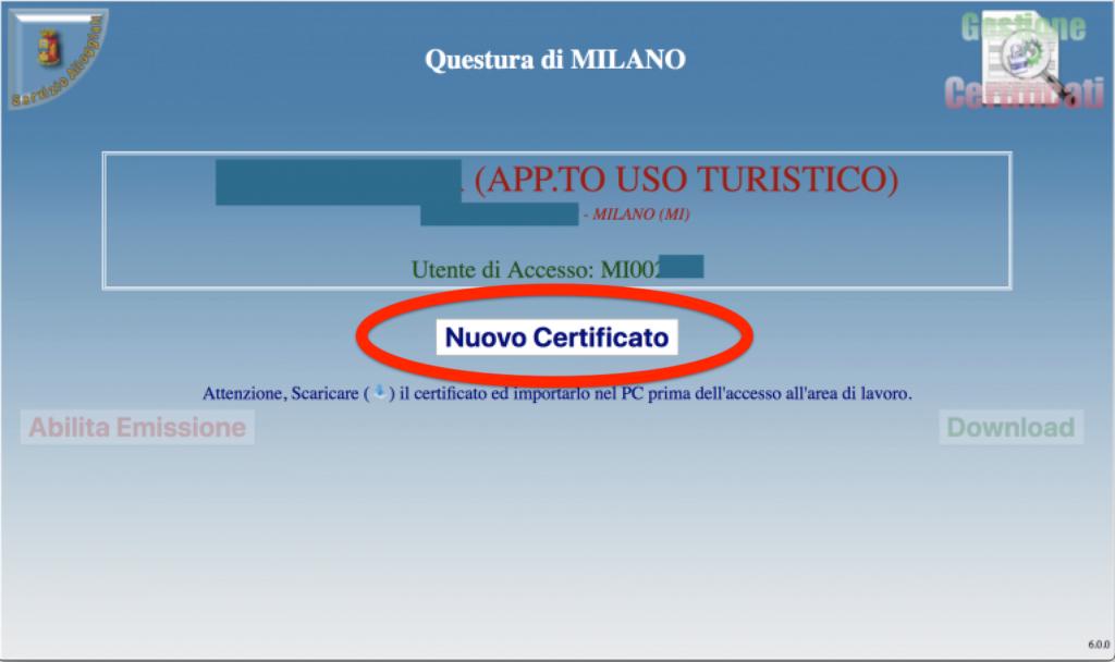 certificato alloggiati