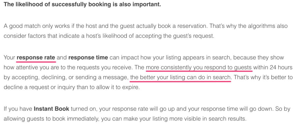tasso di risposta airbnb