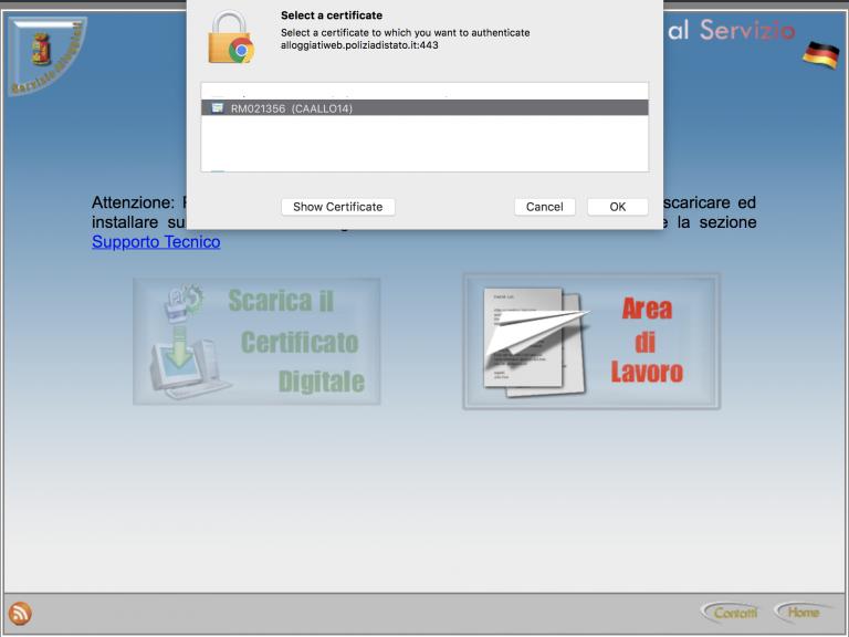 alloggiati web certificato
